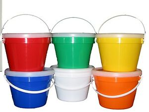 Details about 6 GALLON BUCKETS & LIDS MFG  USA LEAD FREE FOOD SAFE 1 EACH  COLOR
