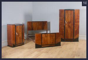 Antique-Art-Deco-Figured-Walnut-Three-Piece-Bedroom-Suite-Bed-Wardrobe-Compactum