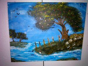 Manni-Ludolf-Der-Apfelbaum-vor-dem-Meer-40cm-x-50cm-Acryl-auf-Leinwand-180