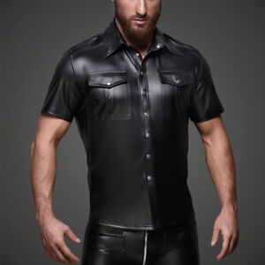 f74ac9a8e1 Men's Blouse Spandex Sexy Tight Shirts Faux Leather Funny ...
