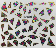 Nail Art 3D Decal Stickers Iridescent Mosaic Pink Blue & Gold Shapes XF6245