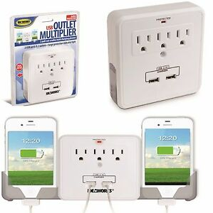 Usb 3 outlet multiplier 2 pull out cradles phone charger phone surge protector - Electrical outlet multiplier ...