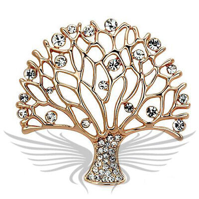 Beautiful Top Graded Clear Crystal Tree Theme Brooch Rose Gold Plated LO2916