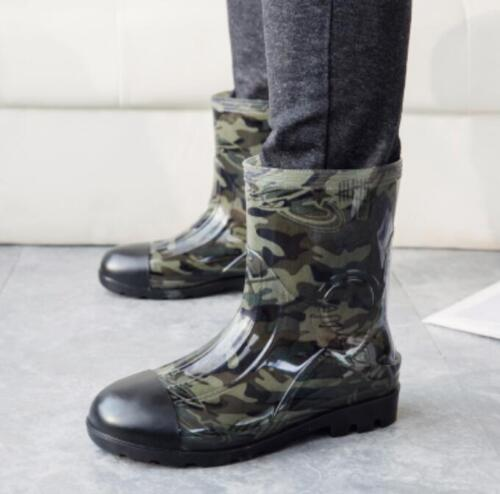 Summer Mens Ankle Boots Rain Outdoor Camo Pull On Fishing Waterproof Shoes 01