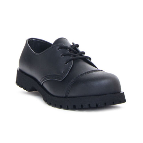 Boots /& Braces 3-Loch Halbschuh Vegetarian-Ranger-Vegan-schwarz-Gothic