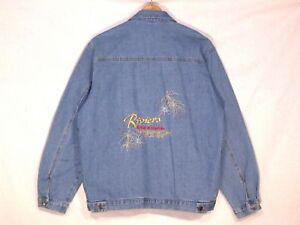 riviera casino vtg stitched denim jean jacket men generous m