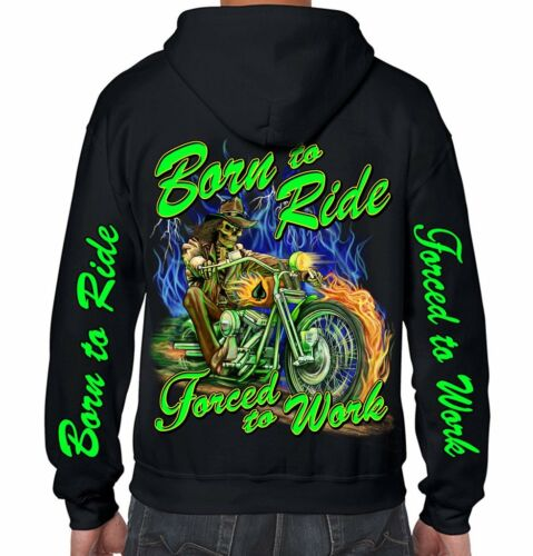 Hoodie Sweat Shirt Mens Biker Motorcycle Born 2 Ride Hooded Jacket