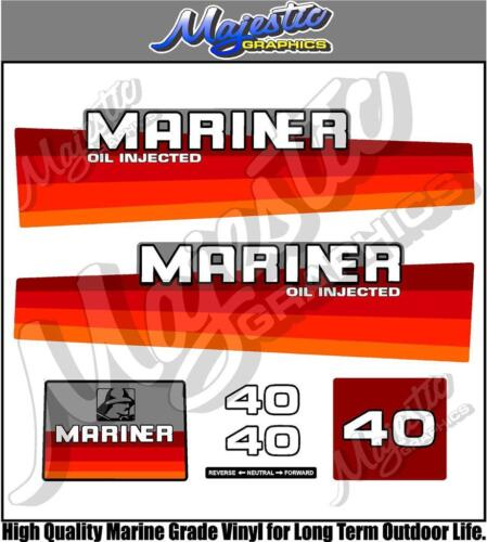 MARINER 40hp OIL INJECTED OUTBOARD DECALS