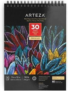 Arteza-Black-Paper-Sketch-Pad-9-034-x-12-034-30-Sheets