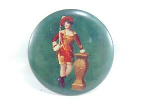 "Advertising 1.75"" Vintage Advertising Pocket Mirror Risque Red Uniform Da0726 Good Reputation Over The World"