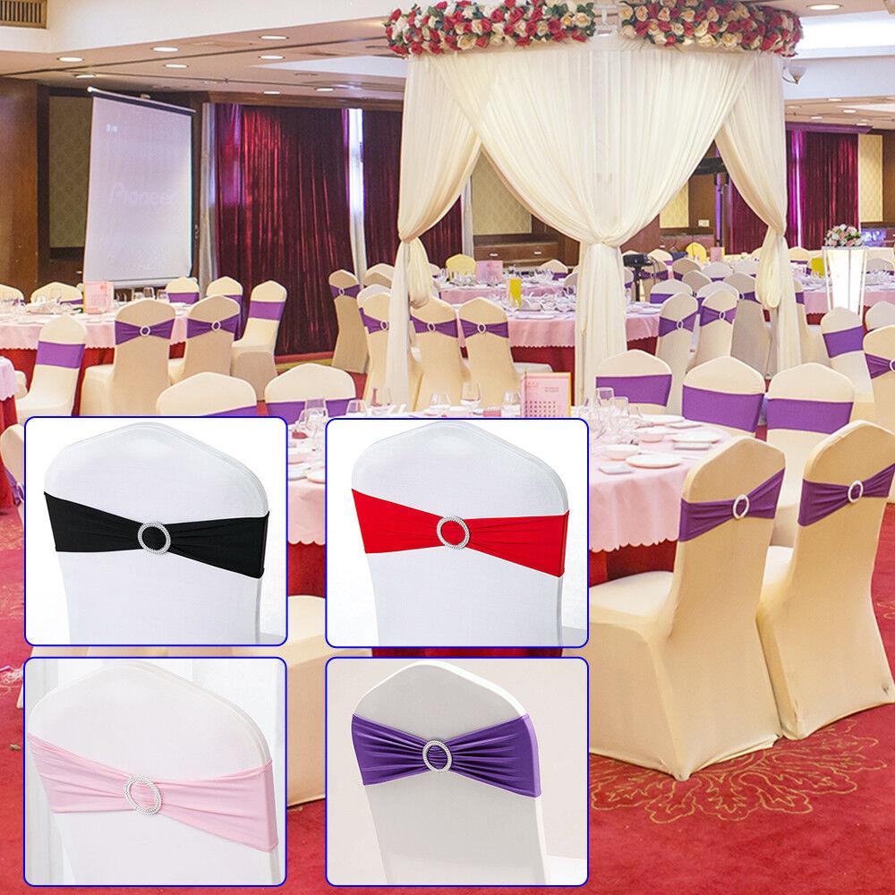 50pc Stuhlschleifen Stretch Schleifenbänder Schleifen Stuhlhussen Hochzeit Party | Elegantes Aussehen  | Qualität Produkte