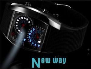 Elegant-montre-Homme-Cadran-Noir-Or-Inox-Acier-Date-Quartz-Montre-LED