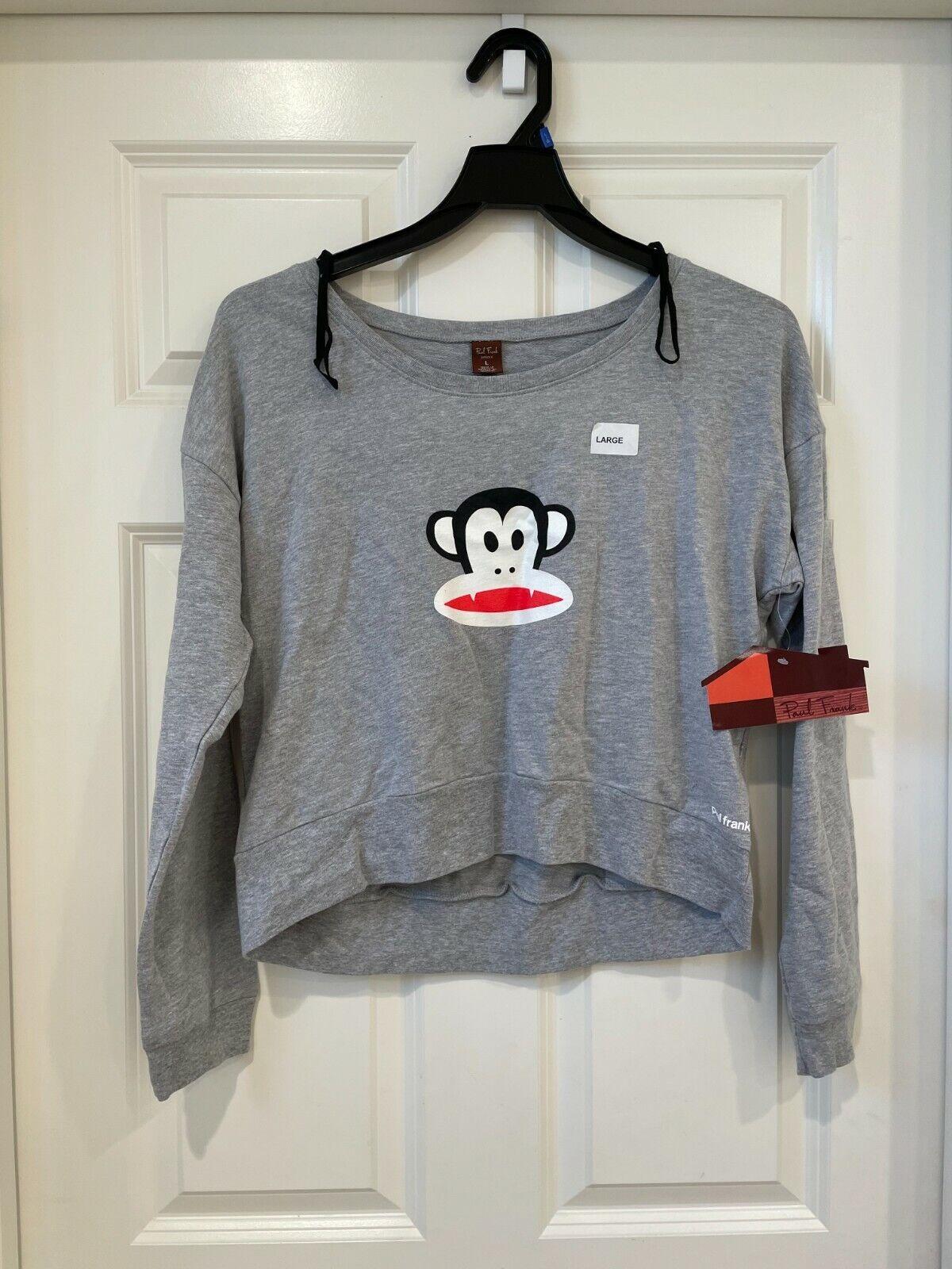 Paul Frank Women's Grey Long Sleeves Cotton Casual Logo Front Sweatshirt Large