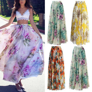 2803bb8440 BOHO Lady Floral Jersey Gypsy Long Maxi Full Skirt Summer Beach Sun ...