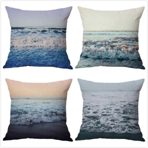 Ocean style mer vague lin Throw Taie d/'oreiller Housse de coussin Voiture Canapé Home Decor