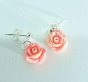 Rose Coral Earrings-Drop Earrings - Pink Roses / Flowers-Silver Plated-Gemstone