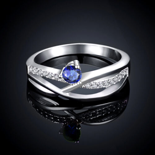 4 Couleur Argent Sterling 925 Bijoux Zircon Noble Couronne Femmes Ring #7 #8 RY023A-D