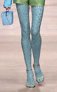 Ladies-Lake-Blue-Leopard-Print-Tights-Pantyhose-Regular-Size-Animal-Print