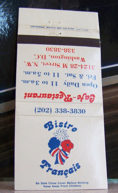Rare Vintage Matchbook M1 Washington DC Bistro Francais Cafe Restaurant French