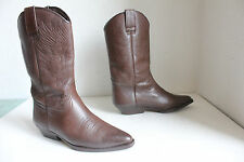 Vintage Elegante Western High Boots Cowboystiefel Echtleder Braun Eu:37,5-38