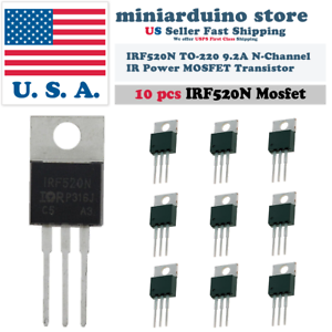 10pcs-IRF520-IRF520N-N-Channel-IR-Power-MOSFET-Transistor-TO-220