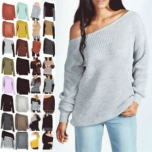 Womens-Off-the-Shoulder-Chunky-Knit-Jumper-Ladies-Oversized-Baggy-Sweater-Top