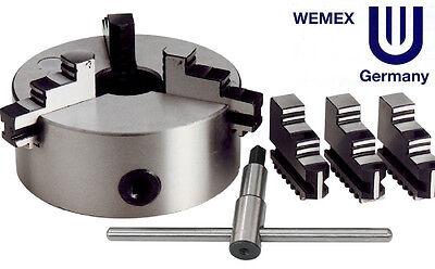 Mandrino autocentrante WEMEX di precisione tornio Ø 80 mm 3+3 griffe + chiave