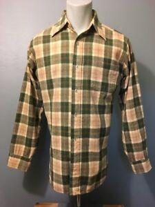 1960/'s Pendleton board shirt sage celadon green wool plaid short sleeve medium