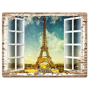 Pp0613 French Window Paris Plate Chic Sign Shop Store Cafe