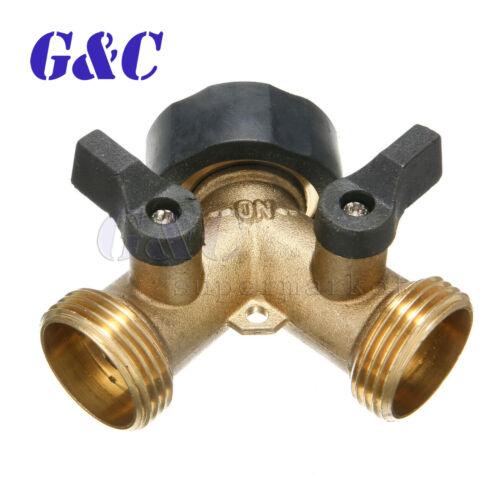 "3//4/"" 2 Way Double Splitter Valve Garden Water Tap Hose Pipe Faucet Connector"