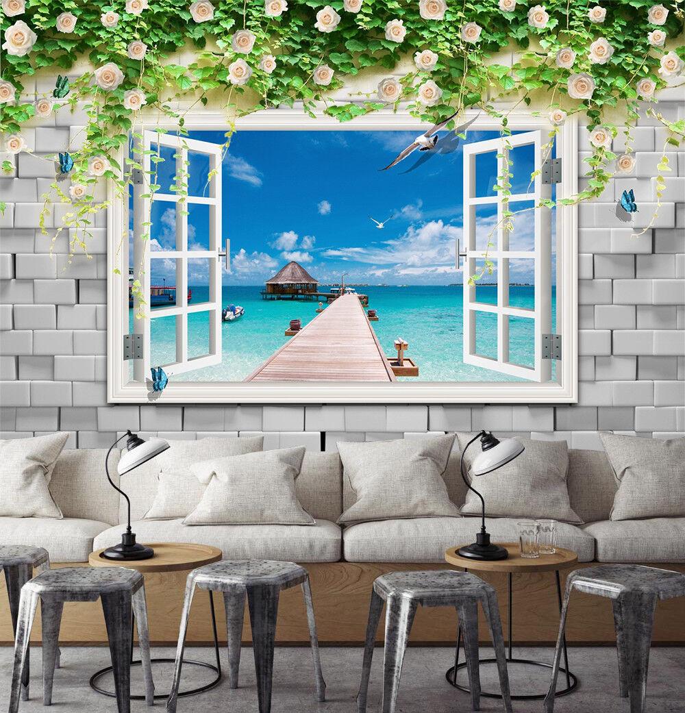 3D Bridge Sea 54 Wallpaper Murals Wall Print Wallpaper Mural AJ WALLPAPER UK