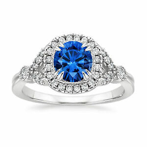 14K-White-Gold-Real-1-30-Ct-Diamond-Natural-Blue-Sapphire-Wedding-Ring-Size-O-N