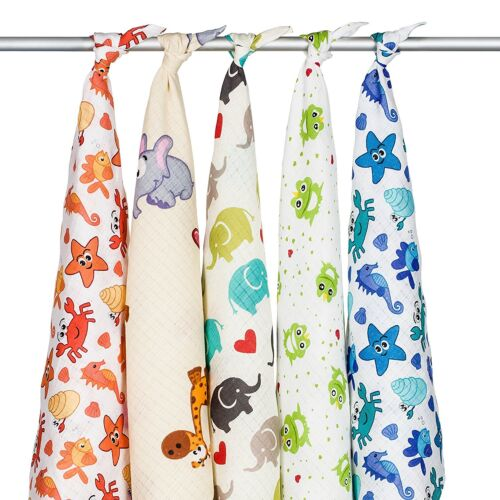 Soft Natural Cotton Baby Muslin Squares Nappies Baby Changing Swaddle Baby Bibs