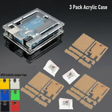 3 Pack Transparent Acrylic Case Cover Shell Enclosure Boxes For Arduino Uno R3