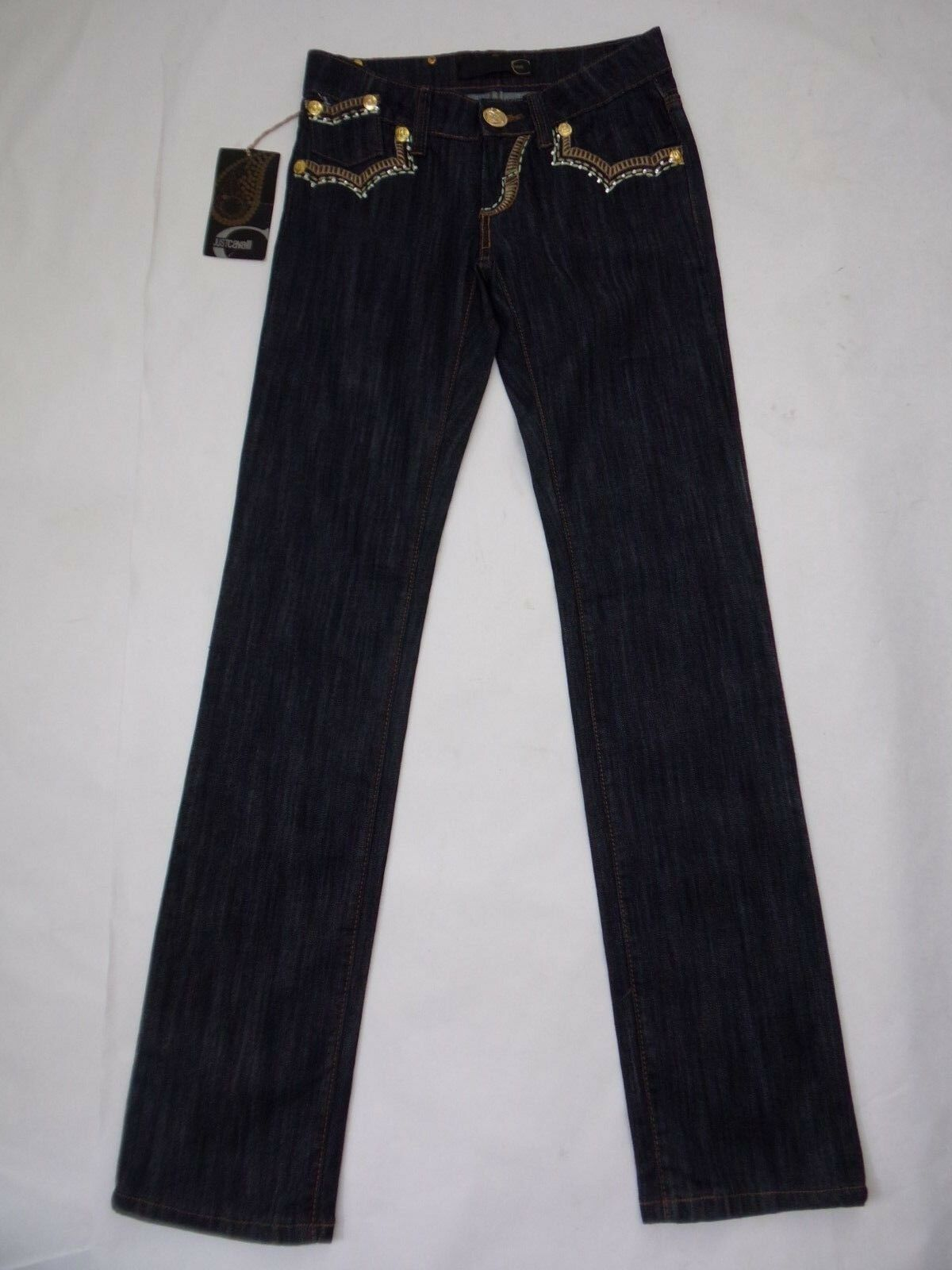 380 NWT JUST CAVALLI Denim Embellished Crystal Embroidery bluee Jeans 26 29 x 34