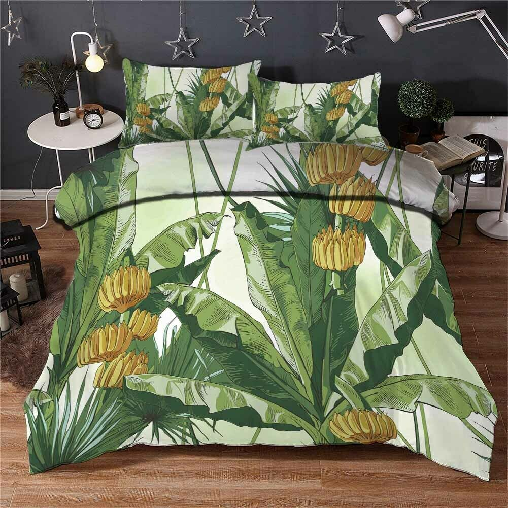 Large verde Leaves 3D Printing Duvet Quilt Doona Covers Pillow Case Bedding Sets