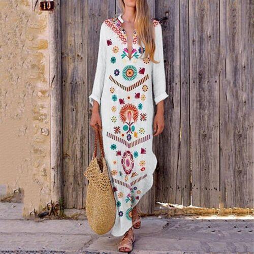 Women Linen Maxi Dress Long Sleeve Boho Kaftan Tunic Gypsy Ethnic Summer Holiday