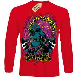 Anarchy-T-Shirt-axe-Skull-biker-gothic-rock-punk-metal-skeleton-Mens-Long-Sleeve