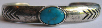 VINTAGE NAVAJO INDIAN CAST SILVER TURQUOISE CUFF BRACELET