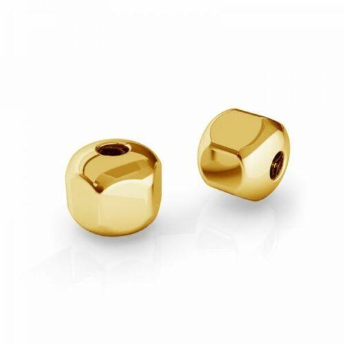 S4 plata esterlina 925 24c Chapado en Oro Perlas hexagonales 6 Mm Cubo De Gran Calidad