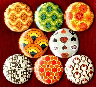 Mid Century Modern print 8 NEW 1 inch pins buttons badges OP art 60/'s 70/'s 50/'s