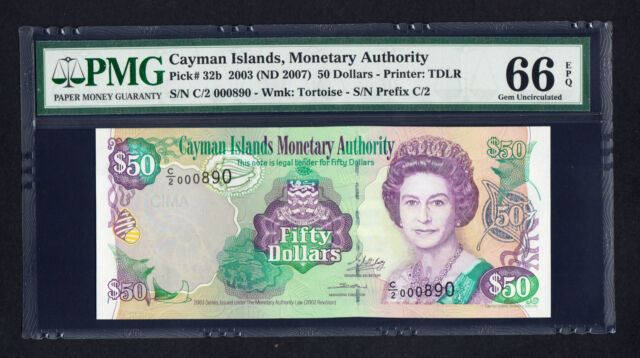 Cayman Islands $50 Dollars 2003, P. 32b  PMG 66 EPQ  GEM UNC Low Serial # QEII