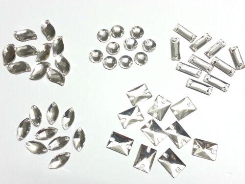 Grade A à coudre FACETTES Verre Cristaux,Strass,Diamantes,Fabrication De Robes