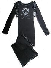 Nero a Palla Teschio cinghia di chiusura Abito Lungo Jersey S 10 12 Cyber Goth Steampunk