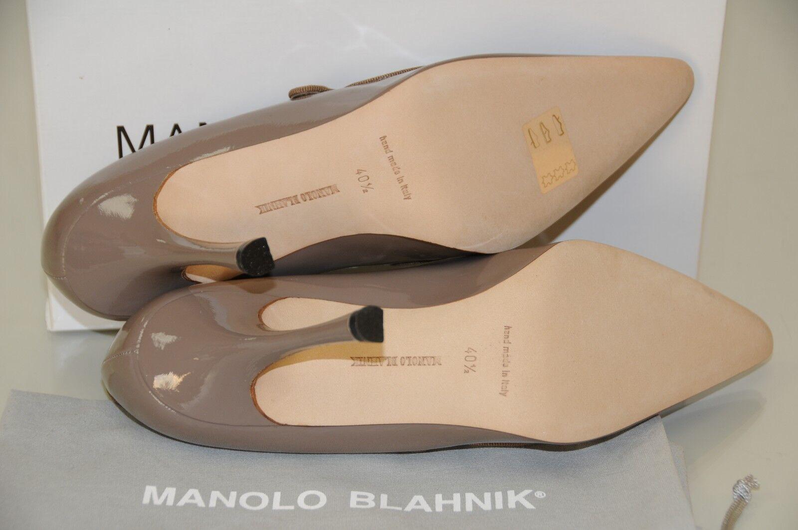 Neuf Femmeolo Blahnik Campari 40.5 Babies Gris Beige Chaussures Vernies 40.5 Campari 41 41.5 9273d3