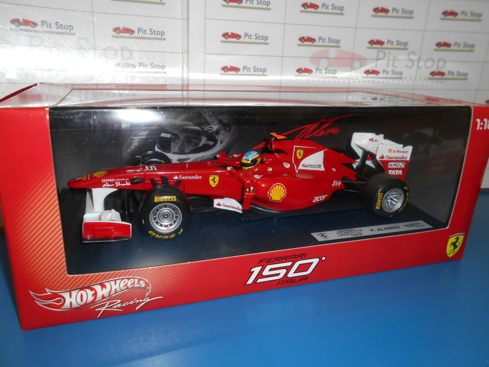 HWW1074A by HOT WHEELS FERRARI 150 ITALIA  5 FERNANDO ALONSO 2011 1 18