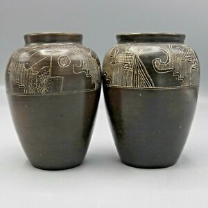 2-Incised-Brown-Pottery-Vases-Native-Inspired-Wave-Abstract-Inscribed-Etched