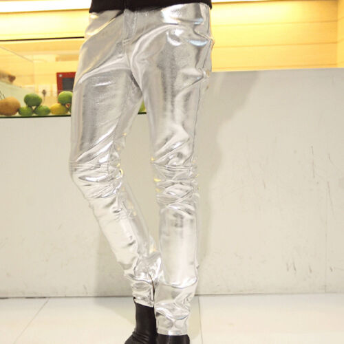 Fashion Men Slim Fit Casual Skinny Pencil Pants Motocycle Trousers New