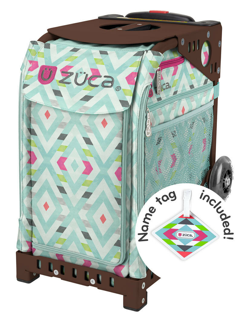 ZUCA Bag CHEVRON Insert & Brown Frame w Flashing Wheels - FREE SEAT CUSHION
