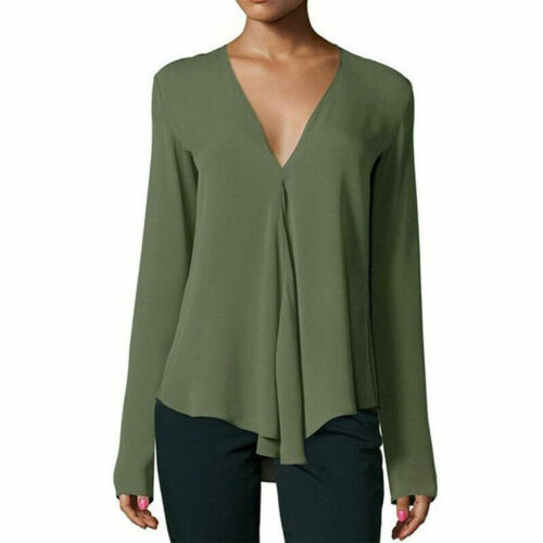 Womens Loose Fit Long Sleeve T-Shirt V-Neck Casual Basic Tunic Top Long Blouse